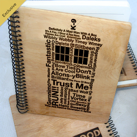 Деревянный блокнот, ежедневник Тардис - слова