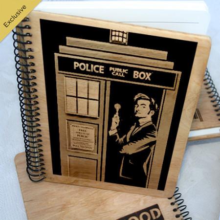 Деревянный блокнот Доктор и Тардис. Что подарить на Новый Год, День Рождения, праздник