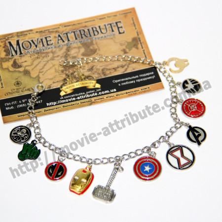 Купить браслет с подвесками герои MARVEL в Украине