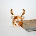 Кольцо золотой рогатый шлем