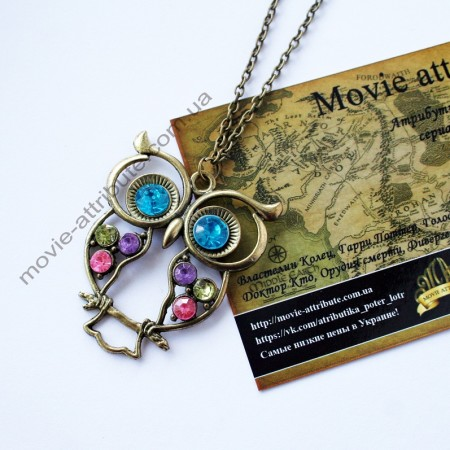 Кулон сова с голубыми глазами