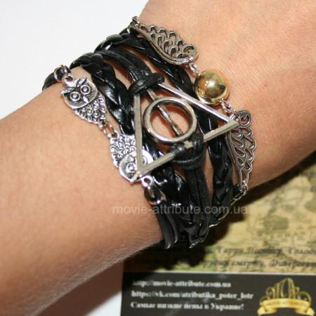 Кожаный браслет с Дарами Смерти