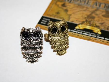 Два кольца совы - бронза и серебро