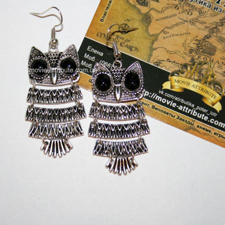 Серьги совы. Античное серебро