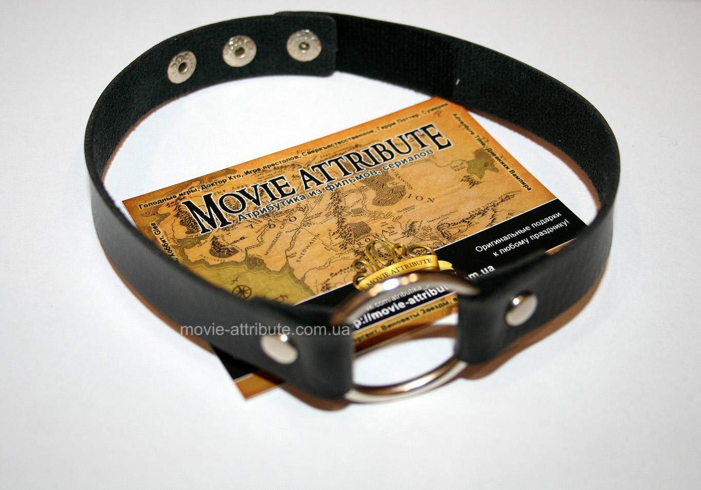 Кожаный ошейник с кольцом фото 200-49