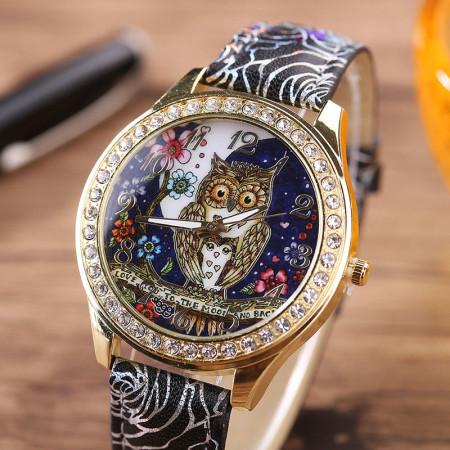 Купить Наручные часы сова, черные в Украине