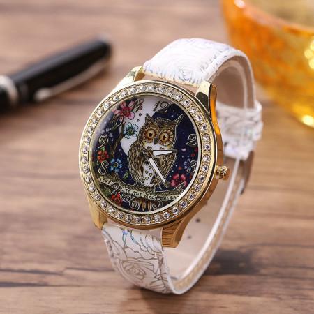 Купить Наручные часы сова, белые в Украине
